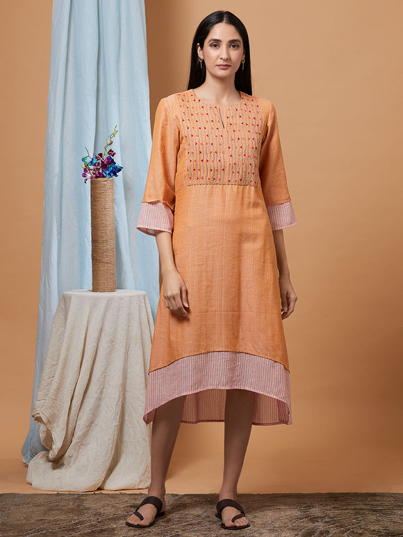 Orange Hand Embroidered Cotton Dress