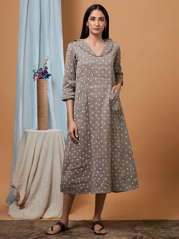 Grey Polka Hand Embroidered Cotton Dress