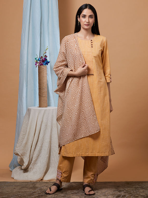 Mustard Yellow Cotton Kurta with Pants and Beige Bagru Printed Dupatta - Set of 3