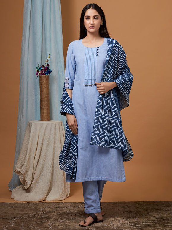 Powder Blue Cotton Kurta with Pants and Bagru Printed Dupatta - Set of 3