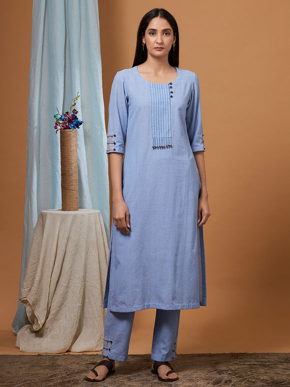 Powder Blue Cotton Kurta