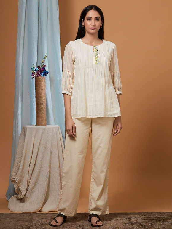 Off White Cotton Top with Beige Pants - Set of 2