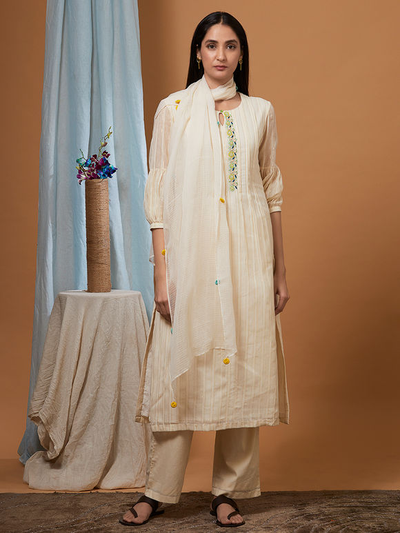 Off White Cotton Kurta with Beige Pants and Kota Doria Dupatta - Set of 3