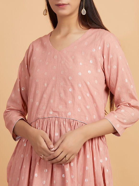 Peach Muslin Cotton Tiered Kurta with Pants - Set of 2