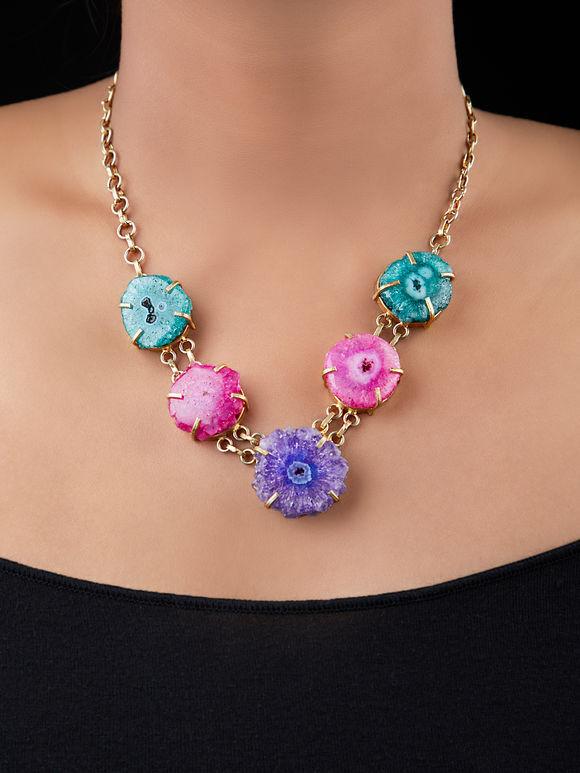 Multicolor Natural Stones Metal Necklace