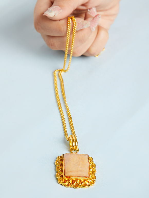 Gold Toned Ivory Natural Stone Metal Pendant Necklace