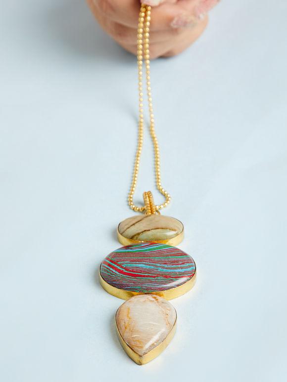 Multicolor Natural Stone Metal Pendant Necklace