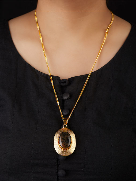 Gold Toned Brown Natural Stone Metal Pendant Necklace
