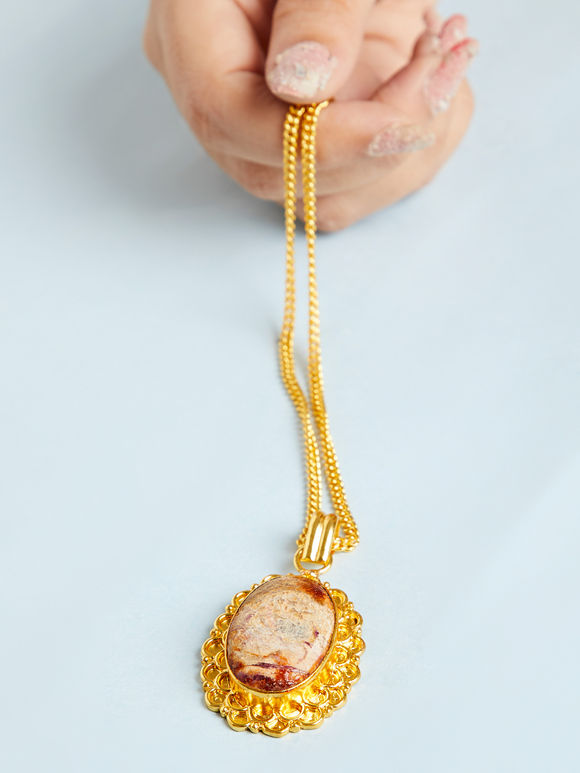 Gold Toned Beige Natural Stone Metal Pendant Necklace