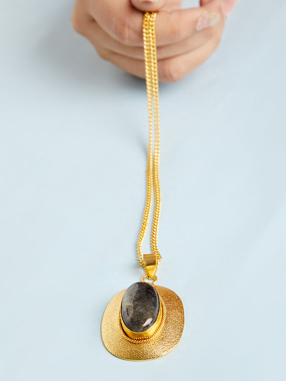 Gold Toned Grey Natural Stone Metal Pendant Necklace