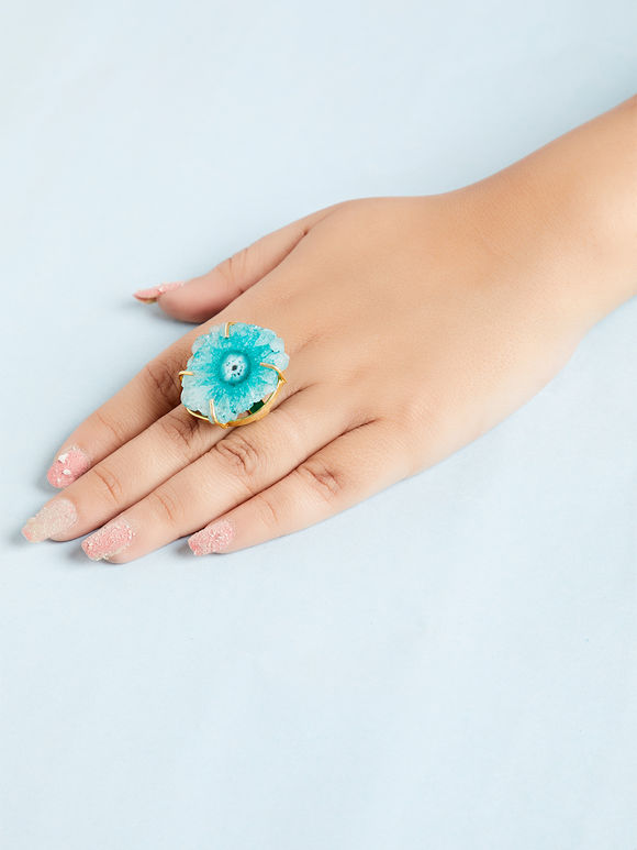 Turquoise Natural Stone Metal Ring