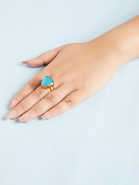 Aqua Natural Stone Metal Ring