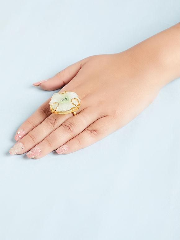 Mint Green Natural Stone Metal Ring