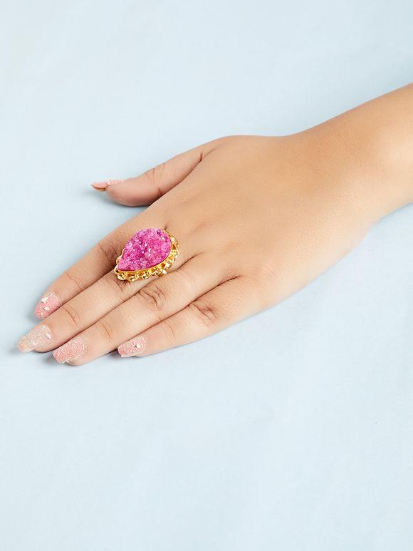 Pink Natural Stone Metal Ring