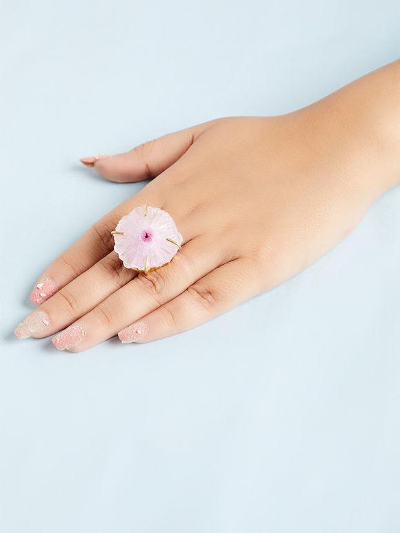 Light Pink Natural Stone Metal Ring