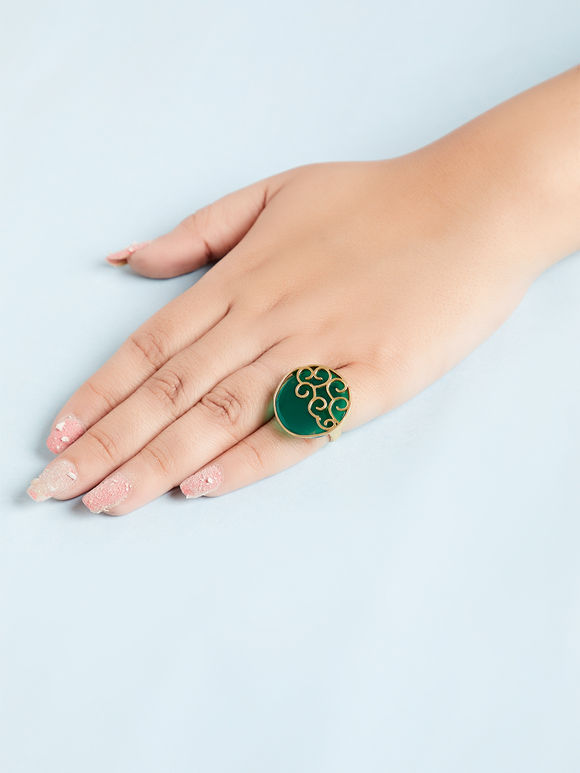 Emerald Green Natural Stone Metal Ring