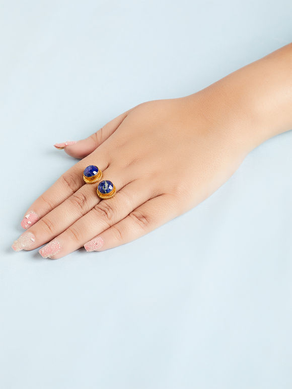 Navy Blue Natural Stone Metal Ring