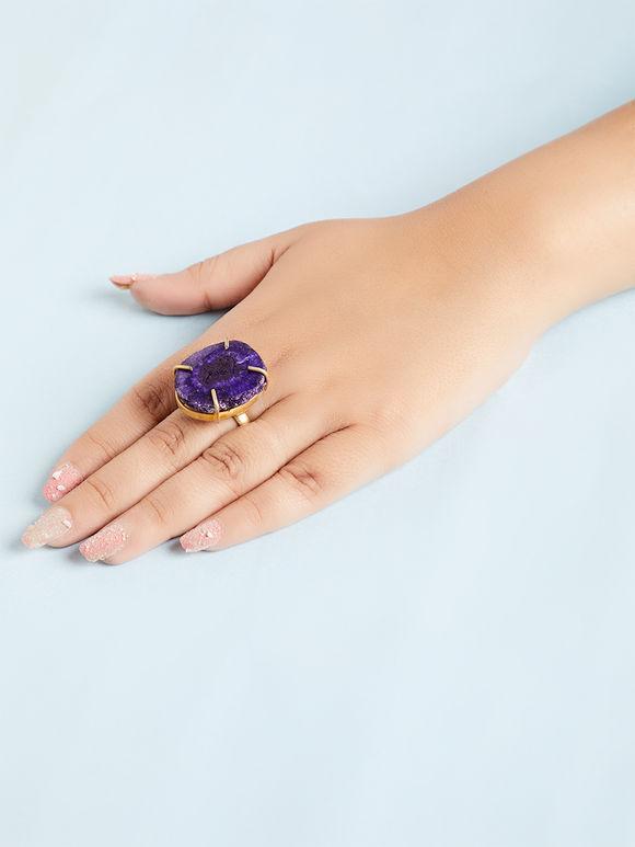Purple Natural Stone Metal Ring