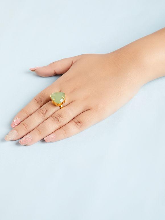 Green Natural Stone Metal Ring
