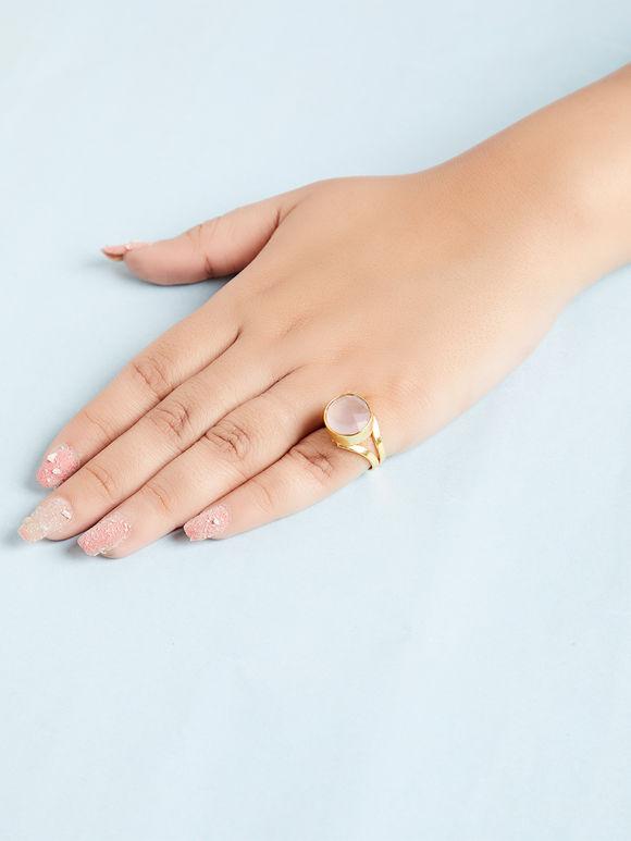 Off White Natural Stone Metal Ring