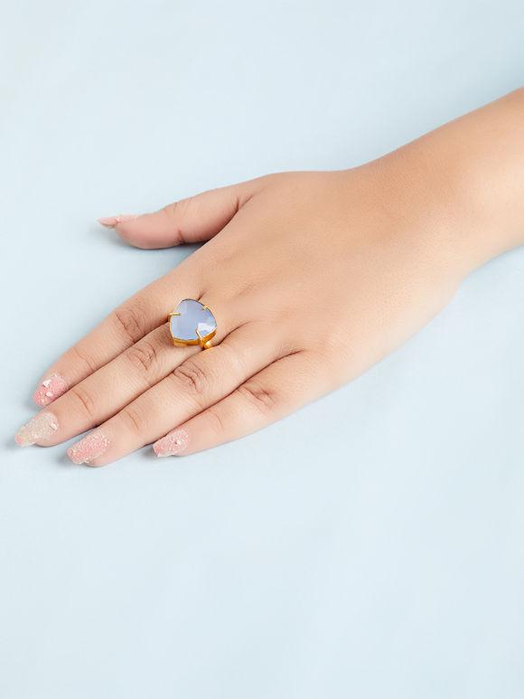 Blue Natural Stone Metal Ring