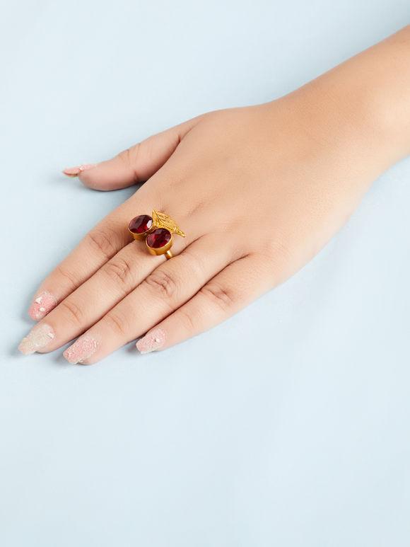Maroon Natural Stone Metal Ring