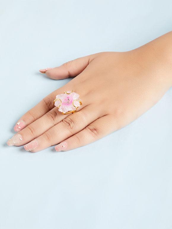 White Pink Natural Stone Metal Ring
