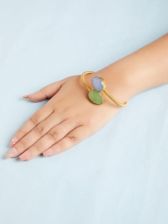 Green Blue Natural Stone Metal Bracelet