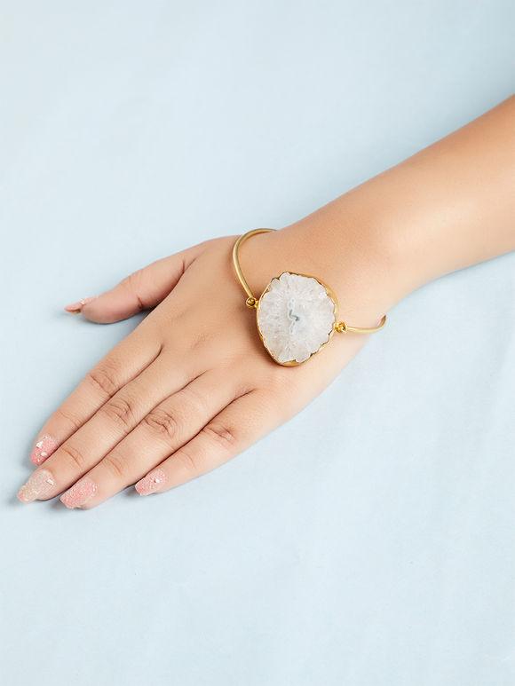 White Natural Stone Metal Bracelet