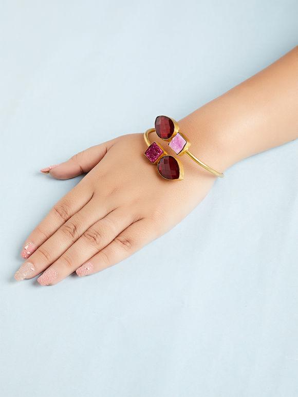 Pink Maroon Natural Stone Metal Bracelet