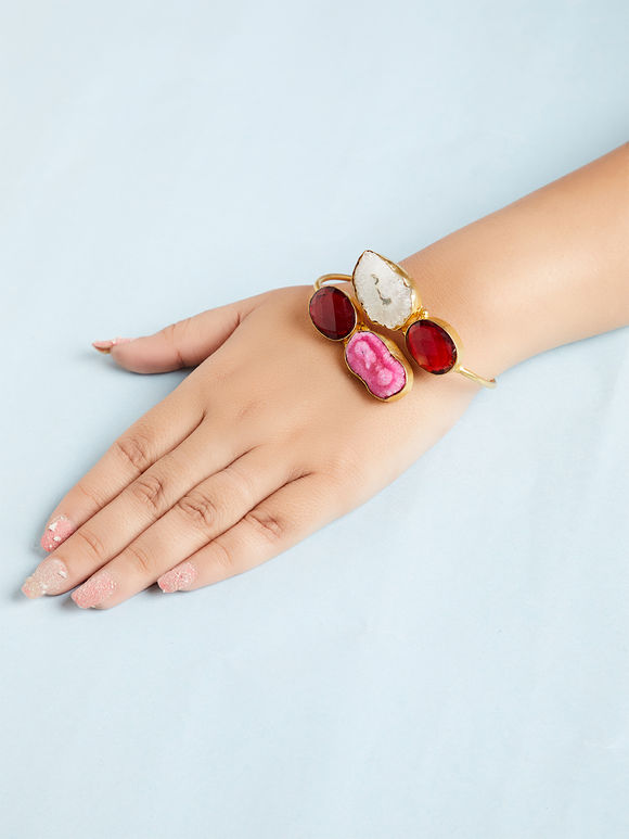 Multicolor Natural Stone Metal Bracelet