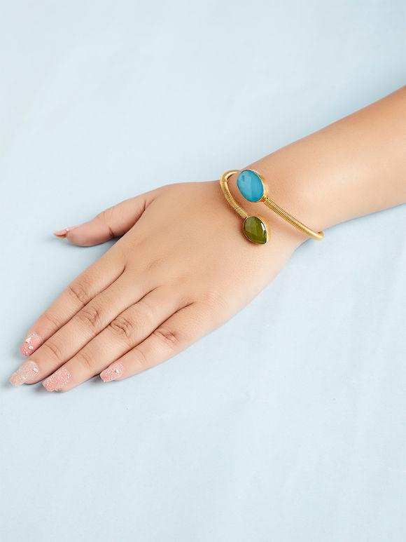 Green Turquoise Natural Stone Metal Bracelet