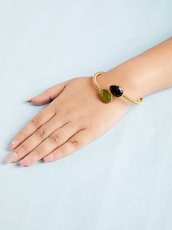 Green Black Natural Stone Metal Bracelet