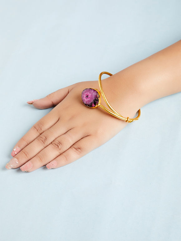 Purple Natural Stone Metal Bracelet