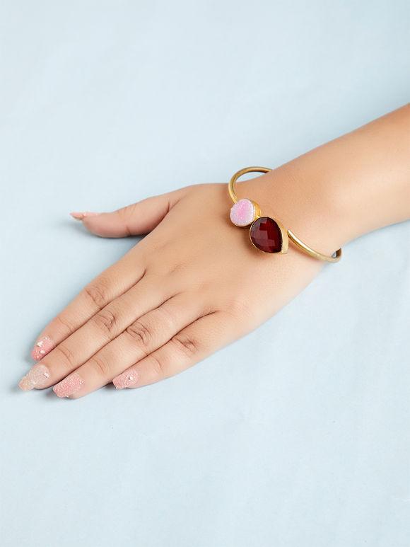 Maroon Pink Natural Stone Metal Bracelet