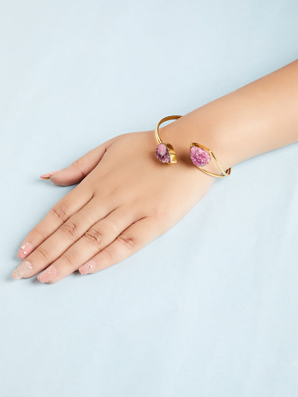 Pink Natural Stone Metal Bracelet