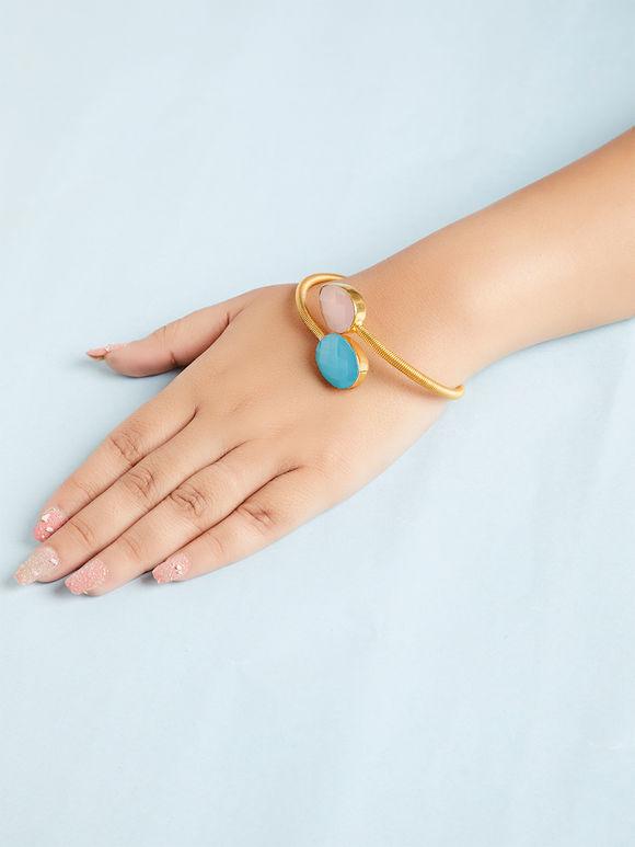 Turquoise Ivory Natural Stone Metal Bracelet