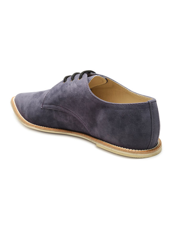 Blue Velvet Oxford Lace Up Shoes