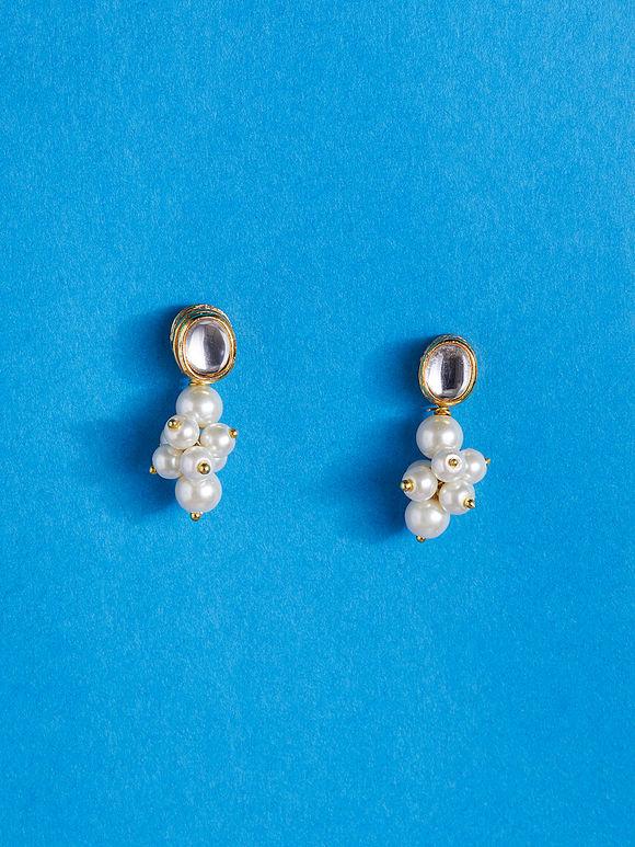 Gold Plated Kundan Pearl Metal Earrings