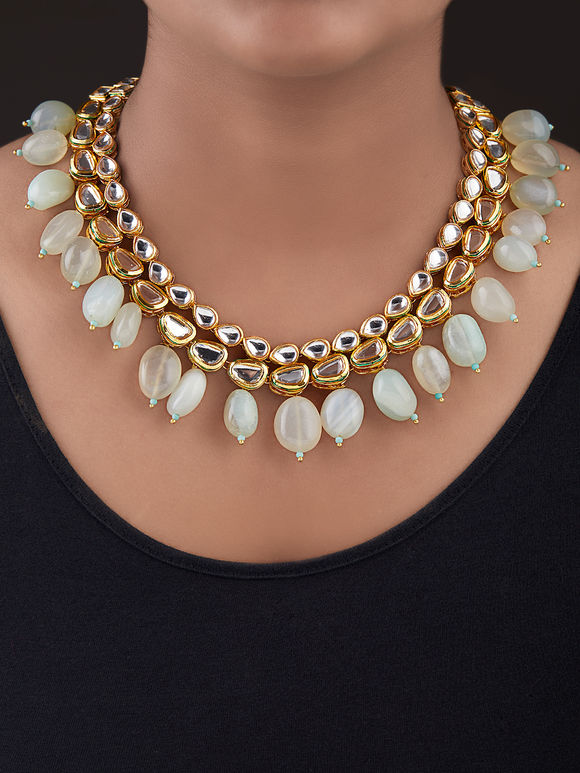 Ivory Gold Plated Silver Kundan Necklace