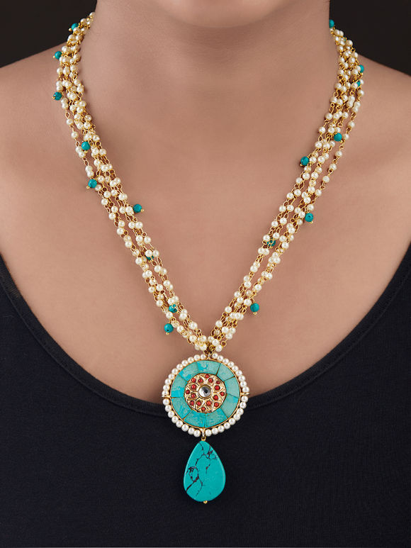 Turquoise Gold Plated Silver Pearls Pendant Necklace