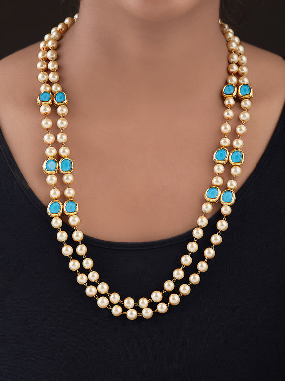 Beige Turquoise Gold Plated Silver Kundan Necklace