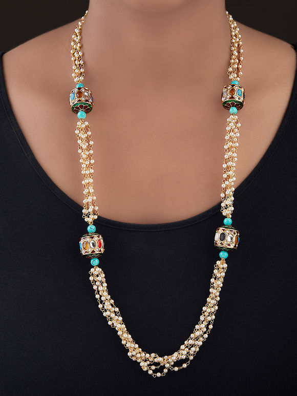 Ivory Turquoise Gold Plated Silver Pearls Necklace