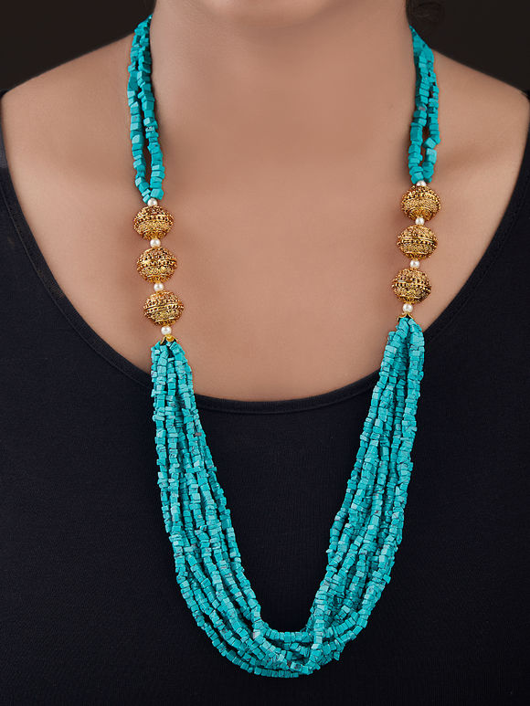 Turquoise Gold Plated Silver Beads Necklace