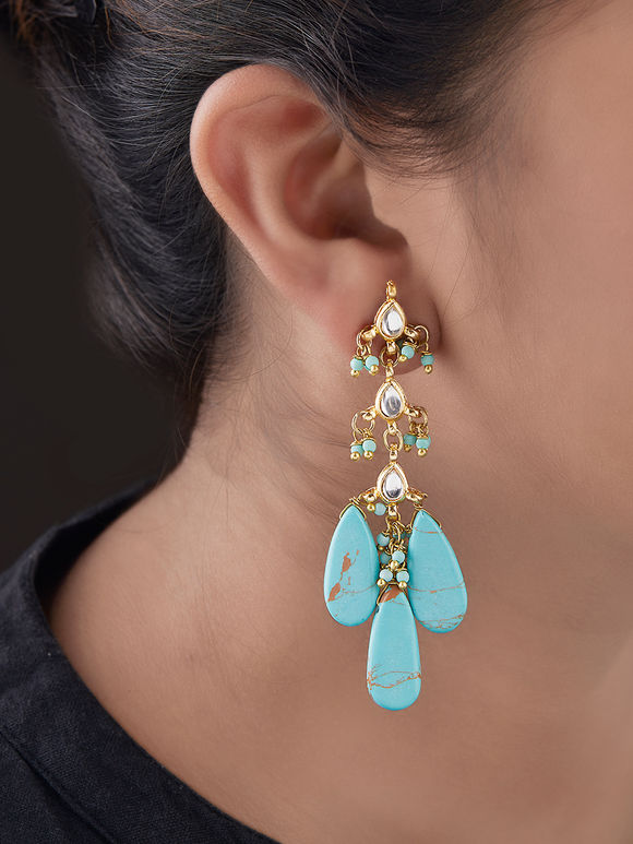 Turquoise Gold Plated Silver Droplet Earrings