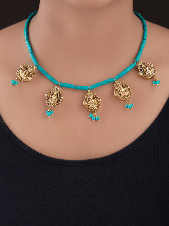 Turquoise Gold Plated Silver Necklace