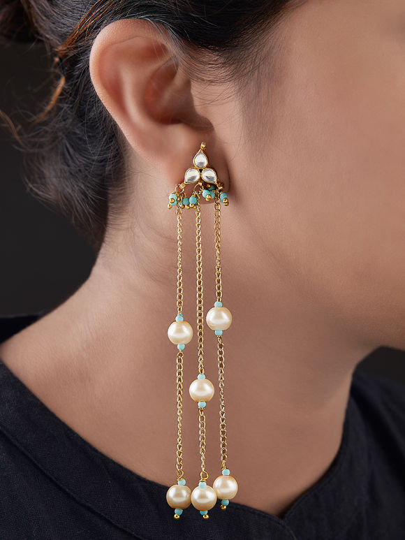 Ivory Turquoise Gold Plated Silver Kundan Earrings