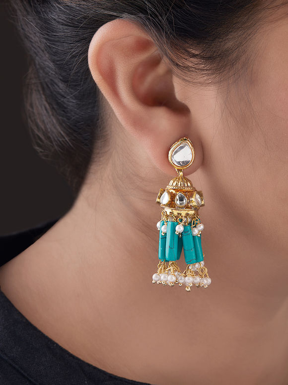 Turquoise Gold Plated Silver Kundan Jhumkies