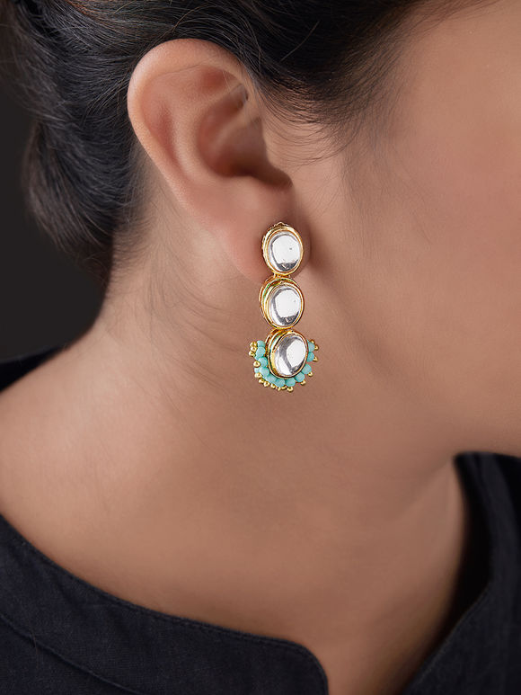 Turquoise Gold Plated Silver Kundan Earrings