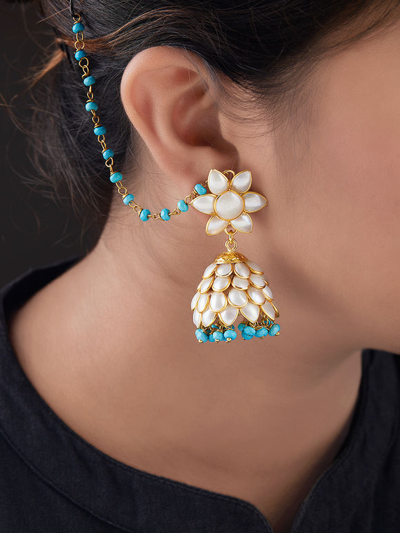 Ivory Turquoise Gold Plated Silver Beads Jhumkies